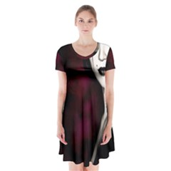 Goth Girl Red Eyes Short Sleeve V-neck Flare Dress