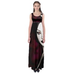 Goth Girl Red Eyes Empire Waist Maxi Dress