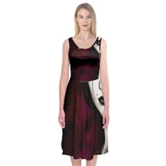 Goth Girl Red Eyes Midi Sleeveless Dress