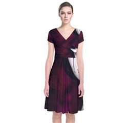 Goth Girl Red Eyes Short Sleeve Front Wrap Dress