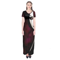 Goth Girl Red Eyes Short Sleeve Maxi Dress