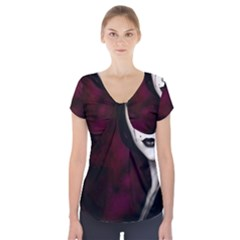 Goth Girl Red Eyes Short Sleeve Front Detail Top