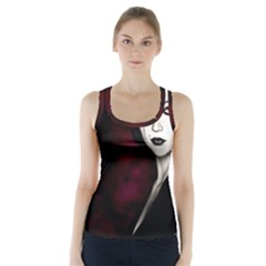 Goth Girl Red Eyes Racer Back Sports Top