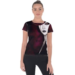 Goth Girl Red Eyes Short Sleeve Sports Top
