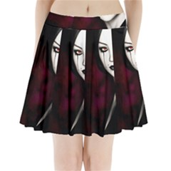 Goth Girl Red Eyes Pleated Mini Skirt