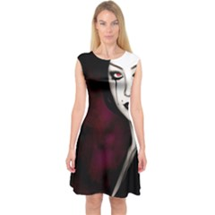 Goth Girl Red Eyes Capsleeve Midi Dress
