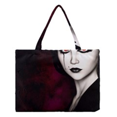 Goth Girl Red Eyes Medium Tote Bag