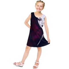 Goth Girl Red Eyes Kids  Tunic Dress