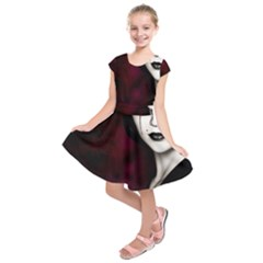 Goth Girl Red Eyes Kids  Short Sleeve Dress