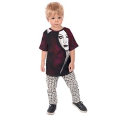 Goth Girl Red Eyes Kids Raglan Tee