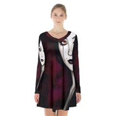 Goth Girl Red Eyes Long Sleeve Velvet V-neck Dress