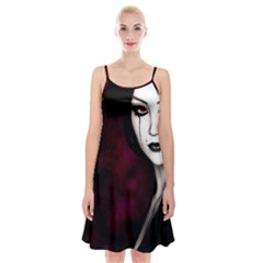 Goth Girl Red Eyes Spaghetti Strap Velvet Dress