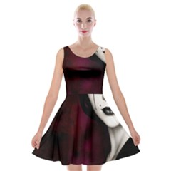 Goth Girl Red Eyes Velvet Skater Dress