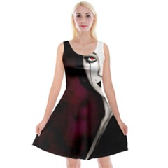 Goth Girl Red Eyes Reversible Velvet Sleeveless Dress