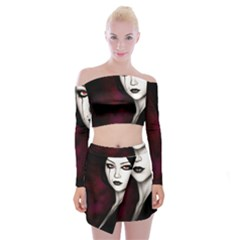Goth Girl Red Eyes Off Shoulder Top with Skirt Set