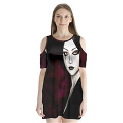 Goth Girl Red Eyes Shoulder Cutout Velvet  One Piece