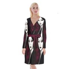 Goth Girl Red Eyes Long Sleeve Velvet Front Wrap Dress