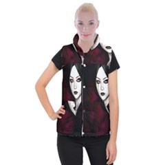 Goth Girl Red Eyes Women s Button Up Puffer Vest