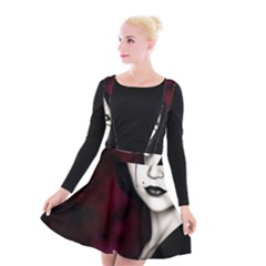 Goth Girl Red Eyes Suspender Skater Skirt