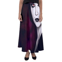 Goth Girl Red Eyes Flared Maxi Skirt