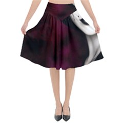 Goth Girl Red Eyes Flared Midi Skirt
