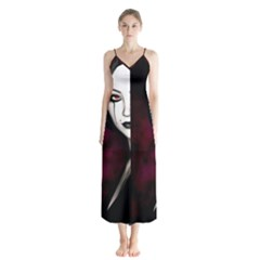 Goth Girl Red Eyes Button Up Chiffon Maxi Dress