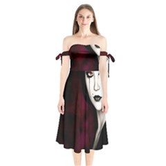 Goth Girl Red Eyes Shoulder Tie Bardot Midi Dress