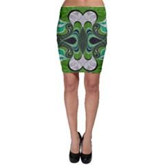 Fractal Art Green Pattern Design Bodycon Skirt