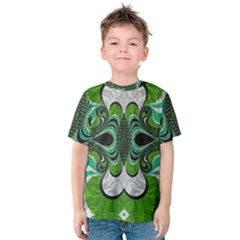 Fractal Art Green Pattern Design Kids  Cotton Tee
