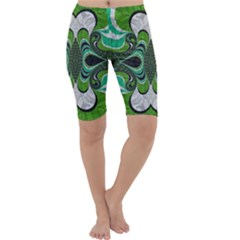 Fractal Art Green Pattern Design Cropped Leggings