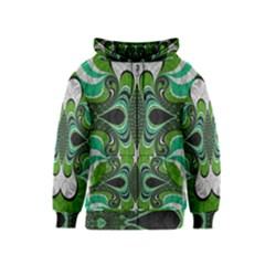 Fractal Art Green Pattern Design Kids  Zipper Hoodie