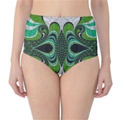 Fractal Art Green Pattern Design High-Waist Bikini Bottoms