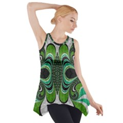 Fractal Art Green Pattern Design Side Drop Tank Tunic