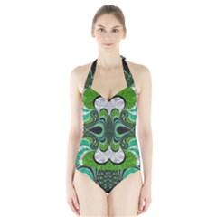 Fractal Art Green Pattern Design Halter Swimsuit