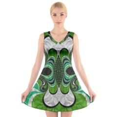 Fractal Art Green Pattern Design V-Neck Sleeveless Skater Dress