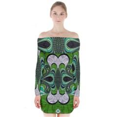 Fractal Art Green Pattern Design Long Sleeve Off Shoulder Dress