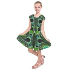 Fractal Art Green Pattern Design Kids  Short Sleeve Dress