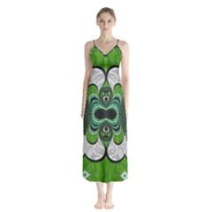 Fractal Art Green Pattern Design Button Up Chiffon Maxi Dress