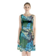 Fractal Formula Abstract Backdrop Sleeveless Waist Tie Chiffon Dress