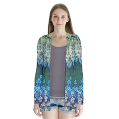 Fractal Formula Abstract Backdrop Drape Collar Cardigan