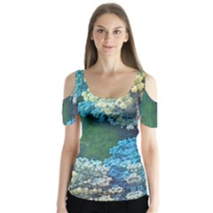 Fractal Formula Abstract Backdrop Butterfly Sleeve Cutout Tee