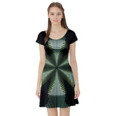 Lines Abstract Background Short Sleeve Skater Dress
