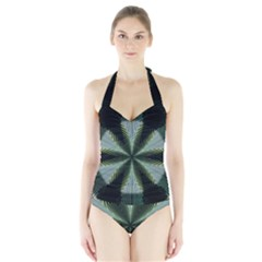 Lines Abstract Background Halter Swimsuit