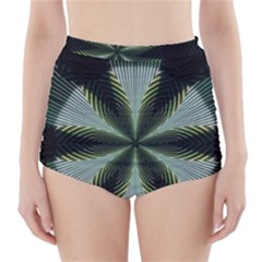 Lines Abstract Background High-Waisted Bikini Bottoms