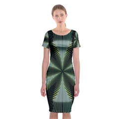 Lines Abstract Background Classic Short Sleeve Midi Dress