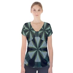 Lines Abstract Background Short Sleeve Front Detail Top