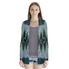 Lines Abstract Background Drape Collar Cardigan