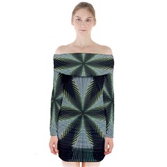 Lines Abstract Background Long Sleeve Off Shoulder Dress