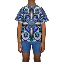 Fractal Cathedral Pattern Mosaic Kids  Short Sleeve Swimwear
