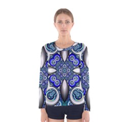 Fractal Cathedral Pattern Mosaic Women s Long Sleeve Tee